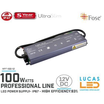 LED Driver Power Supply • 12V • 100 watts • IP67 • Waterproof • Metal case • 5 year • PRO Line • Active Filter •