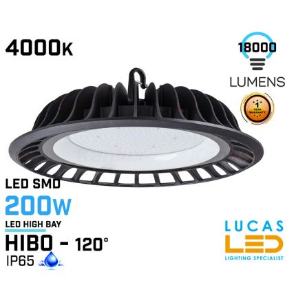 200W LED High Bay Light - 4000K - 18000lm - IP65 - LED SMD - outdoor - indoor - industrial ceiling fitting -  HIBO