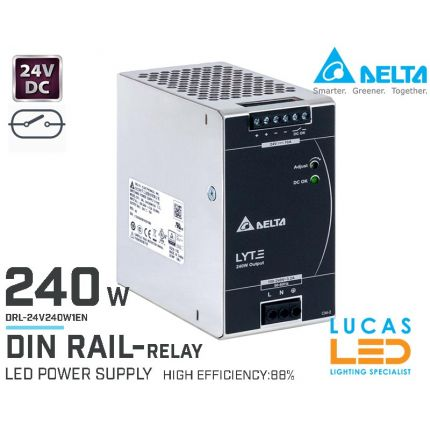 DIN Rail Power Supply • 24V DC • 240 watts • 10A • LED Driver • Pro Line • DELTA LYTE II • High Power Density • with Relay •