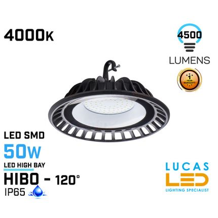 50W LED High Bay Light - 4000K - 4500lm - IP65 - LED SMD - outdoor - indoor - industrial ceiling fitting -  HIBO