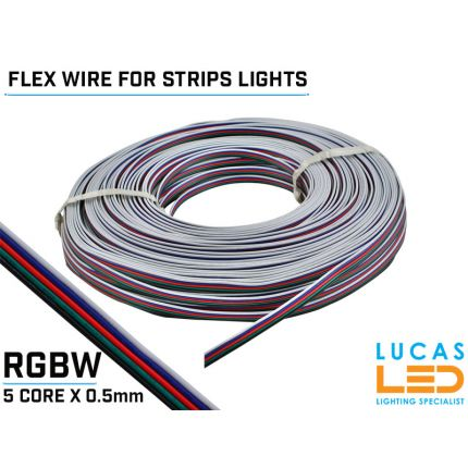 RGBW LED Power cable, flexible for Led Strips - 5 core x 0.5mm - 20AWG - 80° - 300V -  VW-1 - 100m/reel - Price per 1 meter