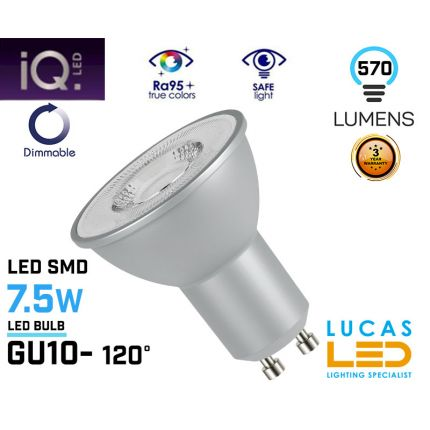 Dimmable GU10 LED bulb - 7.5W - 570lm - LED SMD - viewing angle 120° - New IQ LED light source