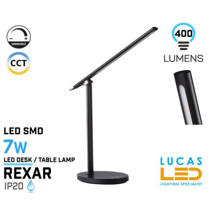 Dimmable LED Desk Lamp 7W - CCT - Adjustable Colour Temperature Touch Switch - USB Charger-REXAR