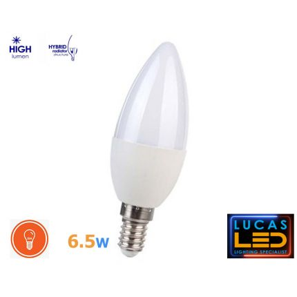 E14 LED Candle bulb light lamp- 6.5W- 600lm- SMD- beam angle 210°