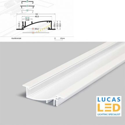LED Recessed Profile , FLAT8 H/UX , WHITE , 2 meter