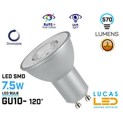 Dimmable GU10 LED bulb - 7.5W - 4000K - 550lm - viewing angle 120 ° - Silver body