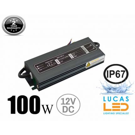 LED Driver Power Supply • 100 watts • 8.3A • DC 12V for LED Strips • IP67 Waterproof •
