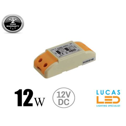 LED Driver  Power Supply 12 watts • 1A • DC 12V for LED Strips • IP40 •