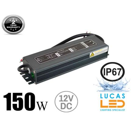 LED Driver Power Supply • 150 watts • 12.5A • DC 12V for LED Strips • IP67 Waterproof •