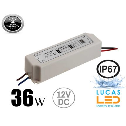 LED Driver Power Supply 36 watts • 3A • DC 12V for LED Strips • IP67 Waterproof •