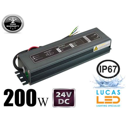 LED Driver Power Supply • 200 watts • 8.3A • DC 24V for LED Strips • IP67 Waterproof •