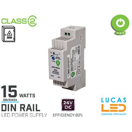 DIN Rail Power Supply • 24V DC • 15 watts • .63A •for Distribution Board • Enclosure Cabinet • LED Driver  • 3Y • POS Power •