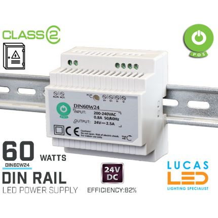 DIN Rail Power Supply • 24V DC • 60 watts • 2.5A • for Distribution Board • Enclosure Cabinet • LED Driver  • 3Y • POS Power •