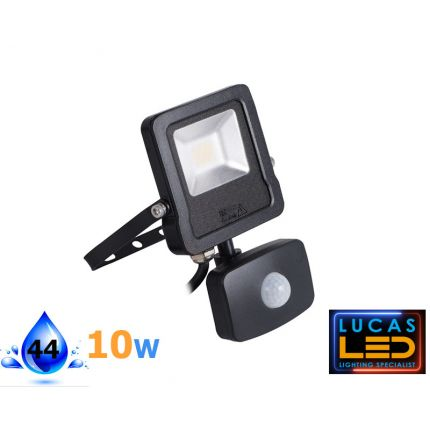 ANTOS 10W - 800lm - Natural White – Black – LED Floodlight with a Motion Detector