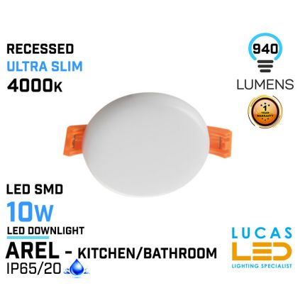 LED Panel Light  10W - 4000K - 940lm - IP65/20 - RECESSED Downlight - ceiling - full fitting - Bathroom / Kitchen - LED SMD - Ultra Slim - AREL