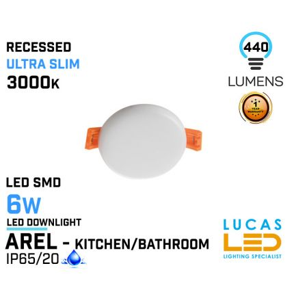 LED Panel Light  6W - 3000K - 440lm - IP65/20 - RECESSED Downlight - ceiling - full fitting - Bathroom / Kitchen - LED SMD - Ultra Slim - AREL