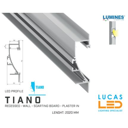 """LED Profile • RECESSED • ARCHITECTURAL • PLASTER IN • """"TIANO"""" • SILVER • Aluminium • 2.02 Meters  lenght • PRO • multi set •"""