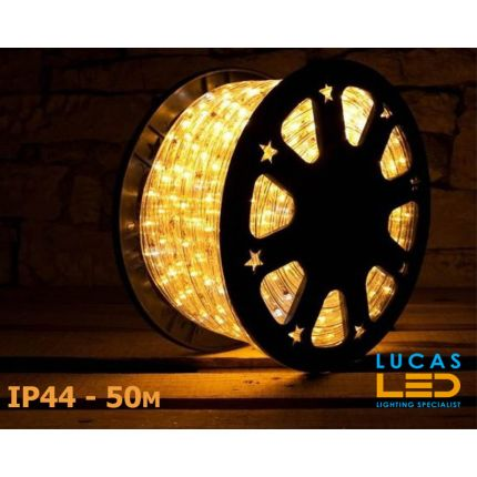 LED Rope Lights SET - 125W - 1800 LED - IP44 Waterproof - 50m Roll - WARM White Light + Connection Cable - outdoor and indoor