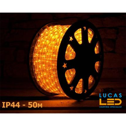 LED Rope Lights SET - 125W - 1800 LED - IP44 Waterproof - 50m Roll - YELLOW Light + Connection Cable - outdoor and indoor