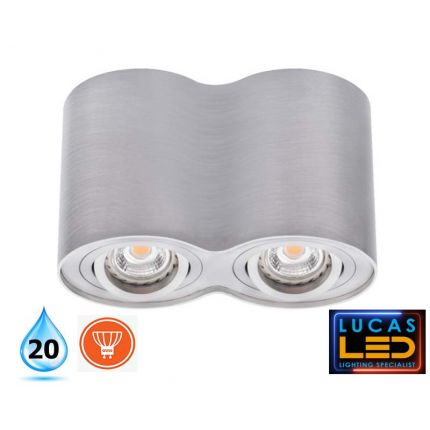 Surface LED Spotlight - Downlight Ceiling Fitting - 2xGu10 - IP20 - BORD Brushed Aluminium