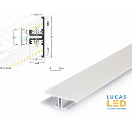 LED Special Application Profile , Back10 WHITE , 2 meter