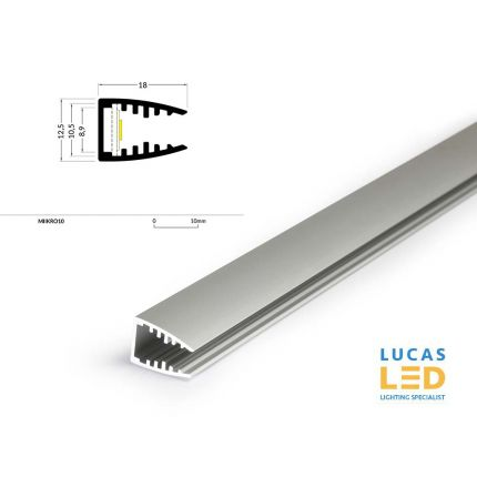 LED Glass Profile MIKRO10 , Silver ,2 Meter Length