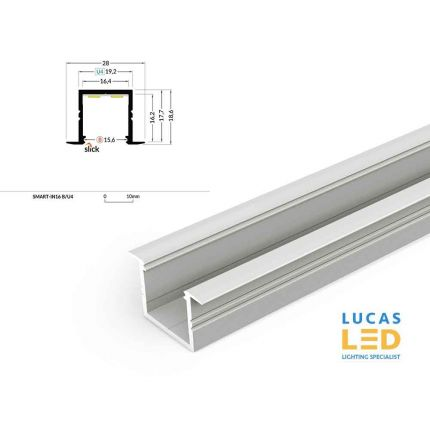 LED Recessed Profile SMART-IN16- plasterboard-furniture lighting-buildings and architectural arrangement- Silver -2 meter