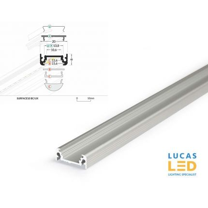 LED Surface Profile , SURFACE10 , Silver , 2 meter