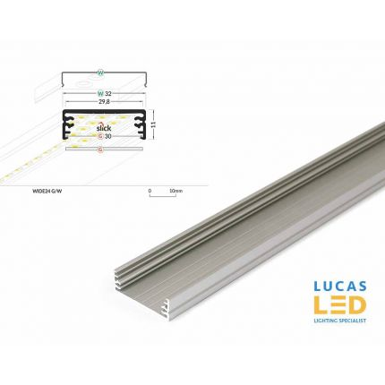 LED Surface Profile , Wide24 , Anodised , down lighting under kitchen cabinet - 2 meter