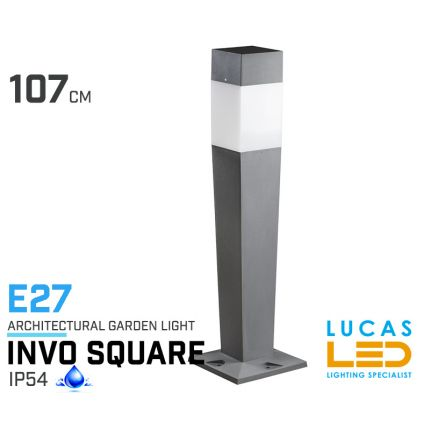 Outdoor LED Garden lighting- Architectural - E27- IP54- 1070mm- INVO Square shape- floor standing lamp for Pathway , Driveway