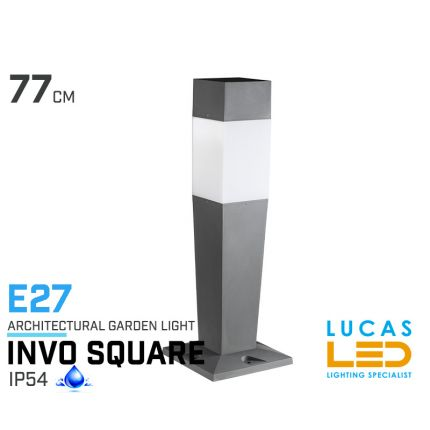 Outdoor LED Garden lighting- Architectural - E27- IP54- 770mm- INVO Square shape- floor standing lamp for Pathway , Driveway