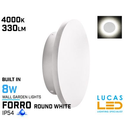 Surface LED Wall Facade Light- 8W- IP54- 330lm- 4000K- White- Outdoor & Indoor lamp- Round light- FORRO