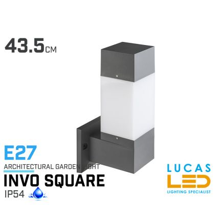 Outdoor LED Wall Lighting- E27- IP54- INVO square shape- Architectural- exterior- porch-facade lamp