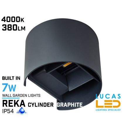 Surface LED Facade Fitting Light- 7W- IP54- 4000K- 380lm- Graphite- Indoor & Outdoor- Up&Down- REKA cylinder shape