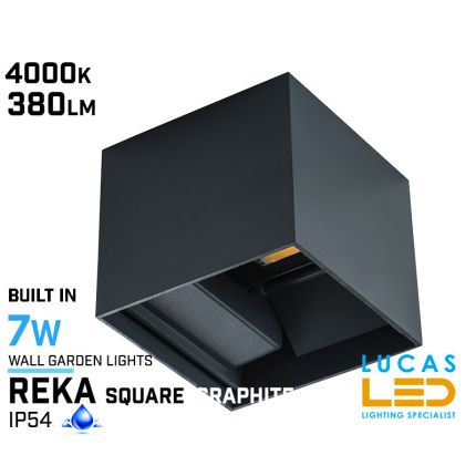 Surface LED Facade Fitting Light- 7W- IP54- 4000K- 380lm- Indoor & Outdoor- Up&Down- Graphite REKA square shape