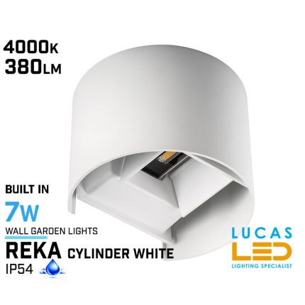 Surface LED Facade Fitting Light- 7W- IP54- 4000K- 380lm- White- Indoor & Outdoor- Up&Down- REKA cylinder shape