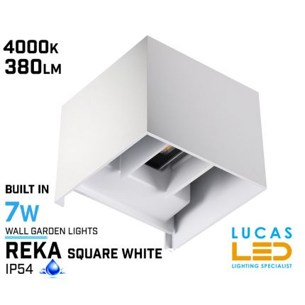 Surface LED Facade Fitting Light- 7W- IP54- 4000K- 380lm- Indoor & Outdoor- Up&Down- REKA White square shape