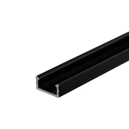 BLACK LED Surface Profile Fose01 for  LED strips, 2 meter , Click&Go ,full SET shade & end caps & handle