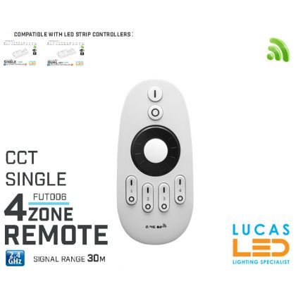 Remote Control • Dimmer •4  zone • MiLight • FUT006 • Single & CCT LED Strip • 2xAAA •Rotating Wheel