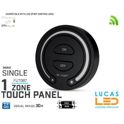 LED Touch Panel Switch • Single LED Strip • Dimmer • MiBoxer • FUT087 • 1 zone • 2.4G • Wireless • Smart • 2 x AAA • Black edition •