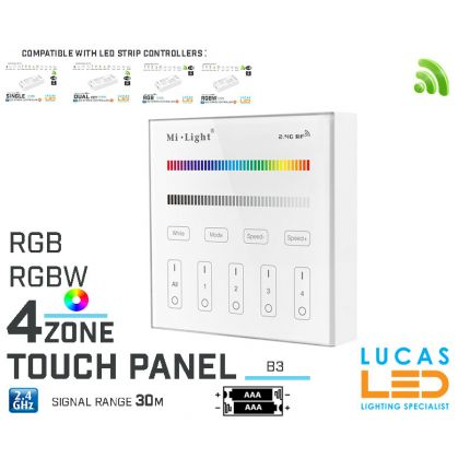 LED Touch Panel Switch • RGB RGBW LED Strip • Dimmer • MiBoxer • B3 • 4 zone • 2.4G • Wireless • Smart • 2xAAA •