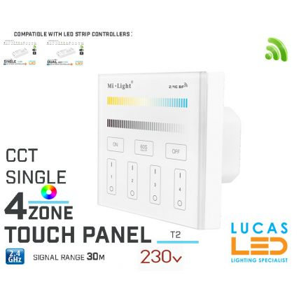 LED Touch Panel Switch • CCT Single LED Strip • Dimmer • MiBoxer • T2 • 4 zone • 2.4G • Wireless • Smart • 230V •