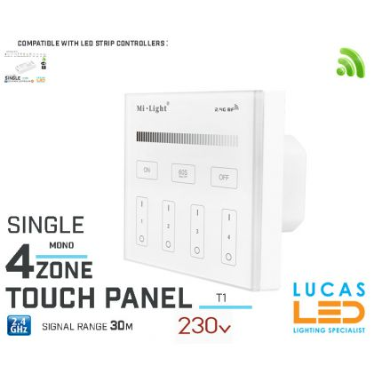 LED Touch Panel Switch •Single LED Strip • Dimmer • MiBoxer • T1 • 4 zone • 2.4G • Wireless • Smart • 230V •