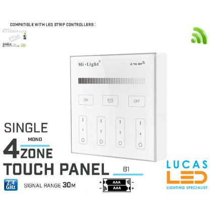 LED Touch Panel Switch • Single LED Strip • Dimmer • MiBoxer • B1 • 4 zone • 2.4G • Wireless • Smart • 2 x AAA •