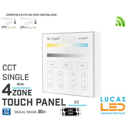 LED Touch Panel Switch • CCT Single LED Strip • Dimmer • MiBoxer • B2 • 4 zone • 2.4G • Wireless • Smart • 2xAAA •