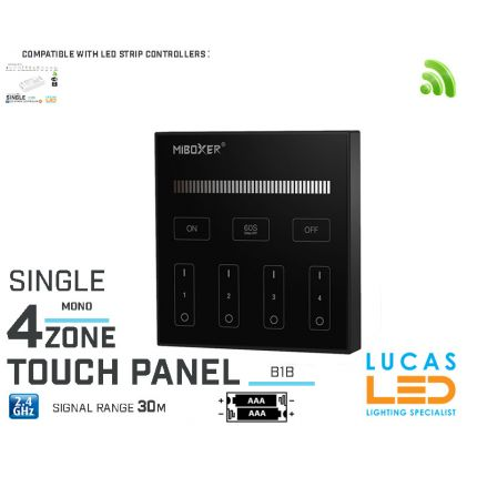 LED Touch Panel Switch • Single LED Strip • Dimmer • MiBoxer • B1 • 4 zone • 2.4G • Wireless • Smart • 2 x AAA • Black edition •