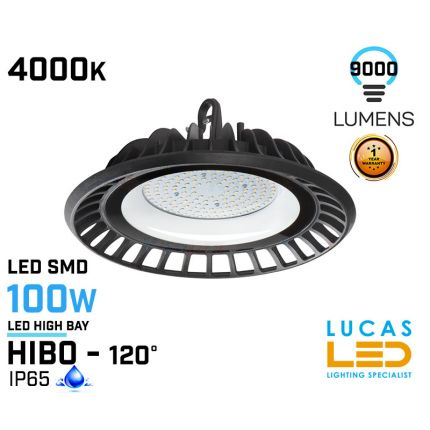 100W LED High Bay Light - 4000K - 9000lm - IP65 - LED SMD - outdoor - indoor - industrial ceiling fitting -  HIBO