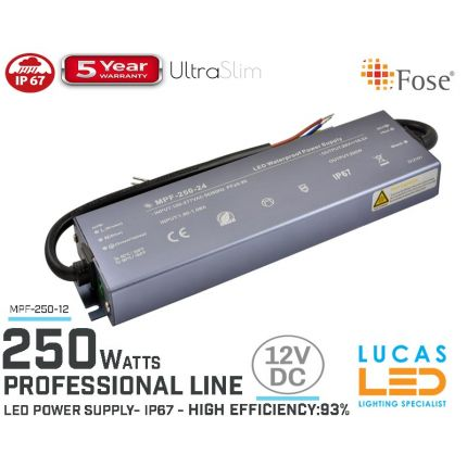 LED Driver Power Supply • 12V • 250 watts • IP67 • Waterproof • Metal case • 5 year • PRO Line • Active Filter •