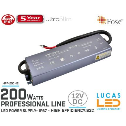 LED Driver Power Supply • 12V • 200 watts • IP67 • Waterproof • Metal case • 5 year • PRO Line • Active Filter •