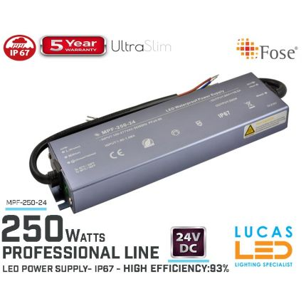 LED Driver Power Supply • 24V • 250 watts • IP67 • Waterproof • Metal case • 5 year • PRO Line • Active Filter •